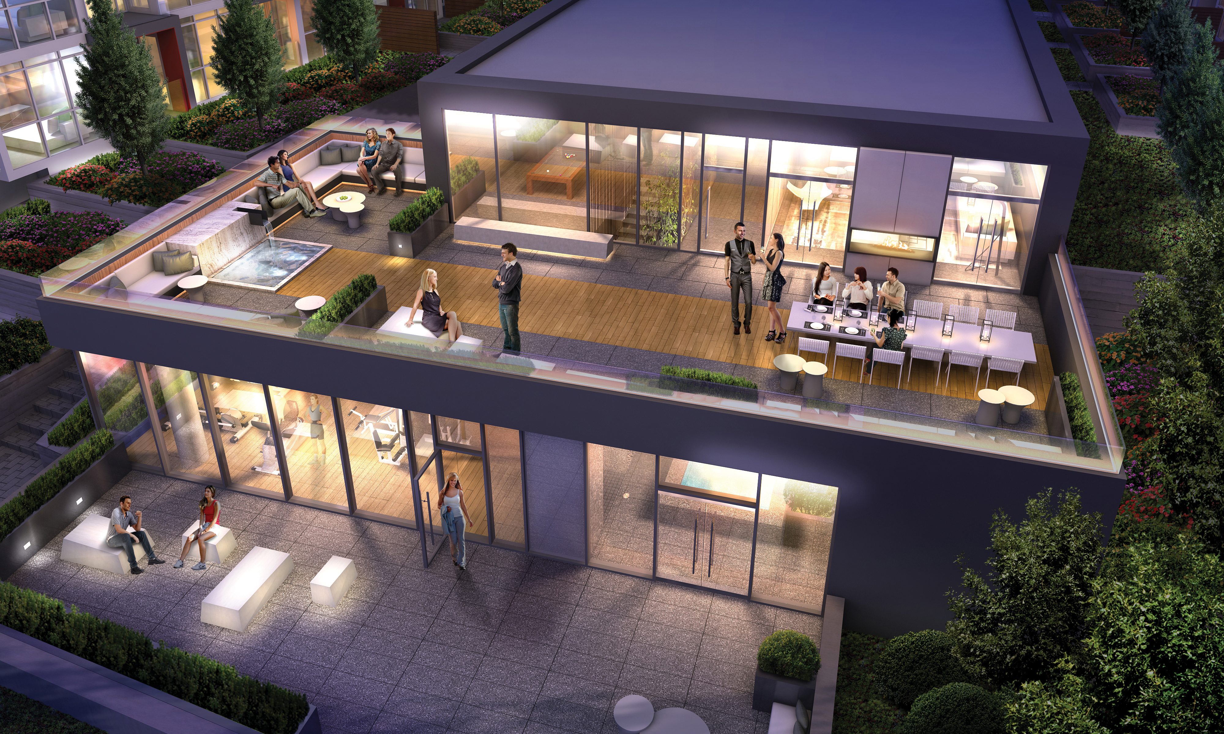 The 2-storey spa-inspired Wellness Centre lets you define downtime in dramatic style with an upper-level that allows you to host a get-together while the lower level allows you to escape from the hustle and bustle
