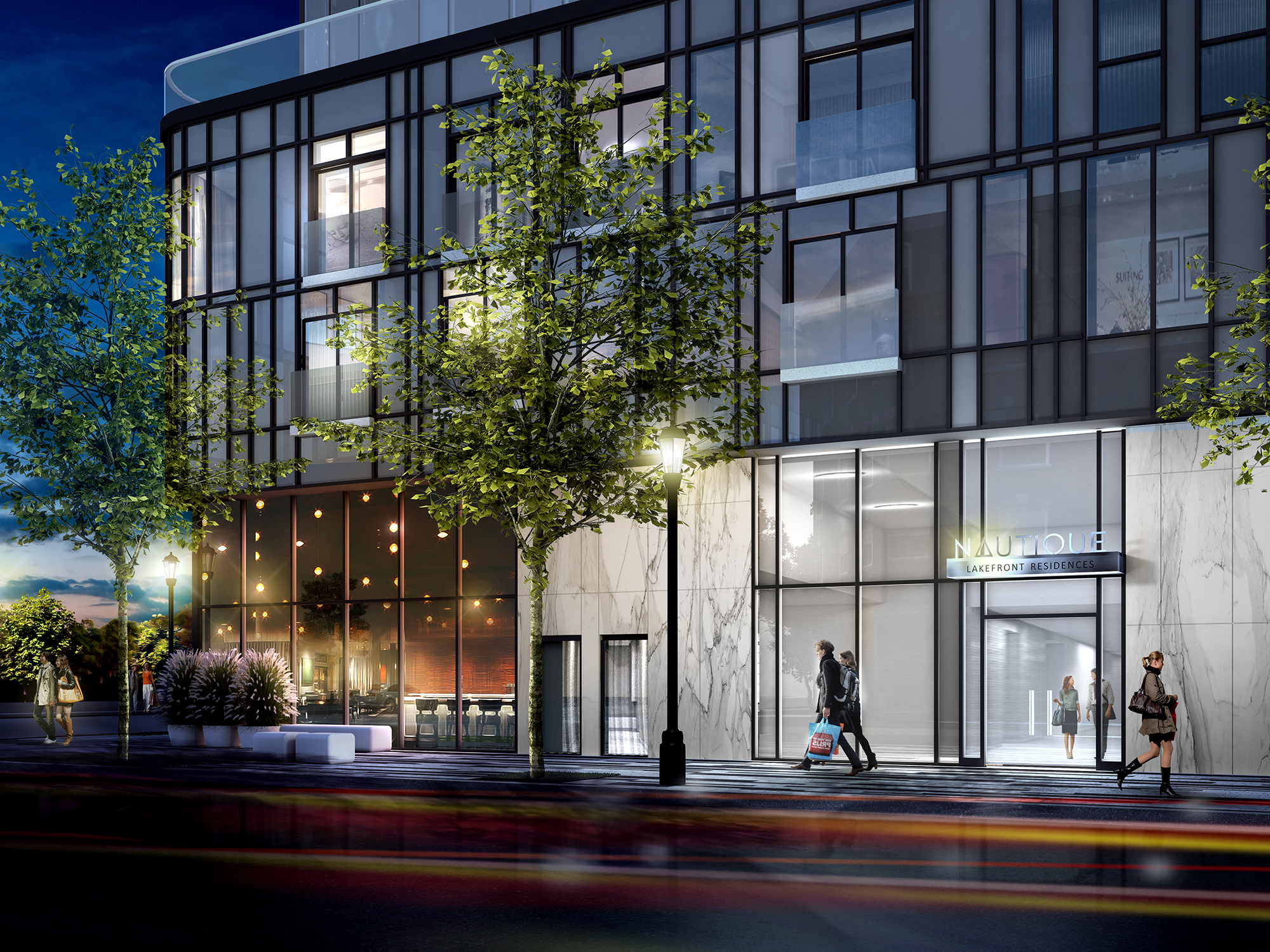 Nautique's main level includes double height retail space along Lakeshore Road