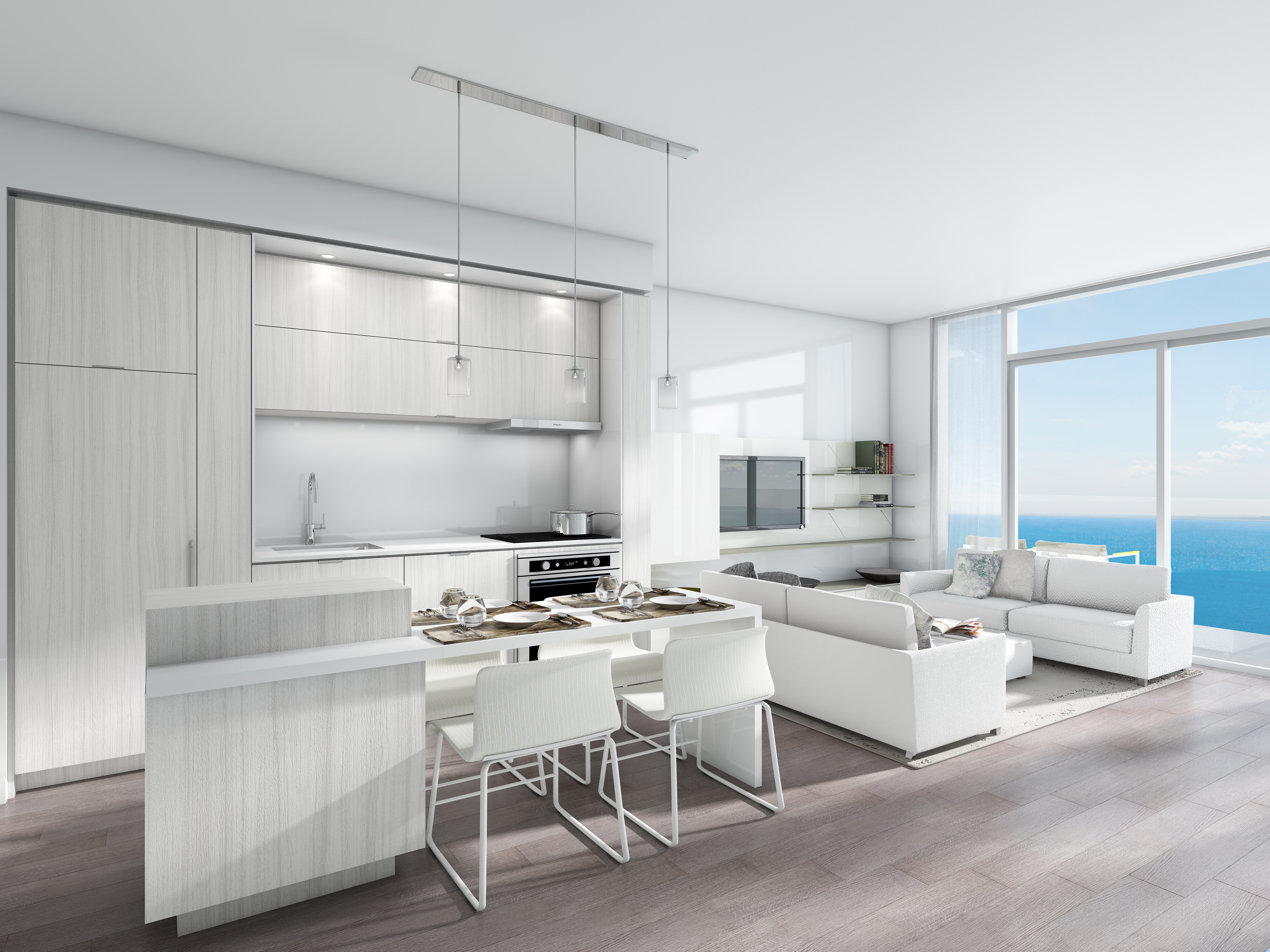 Form follows function in clean linear style, giving way to modern, open-concept spaces. Neutral palettes allow for spaces to flow effortlessly into one another with uninterrupted energy
