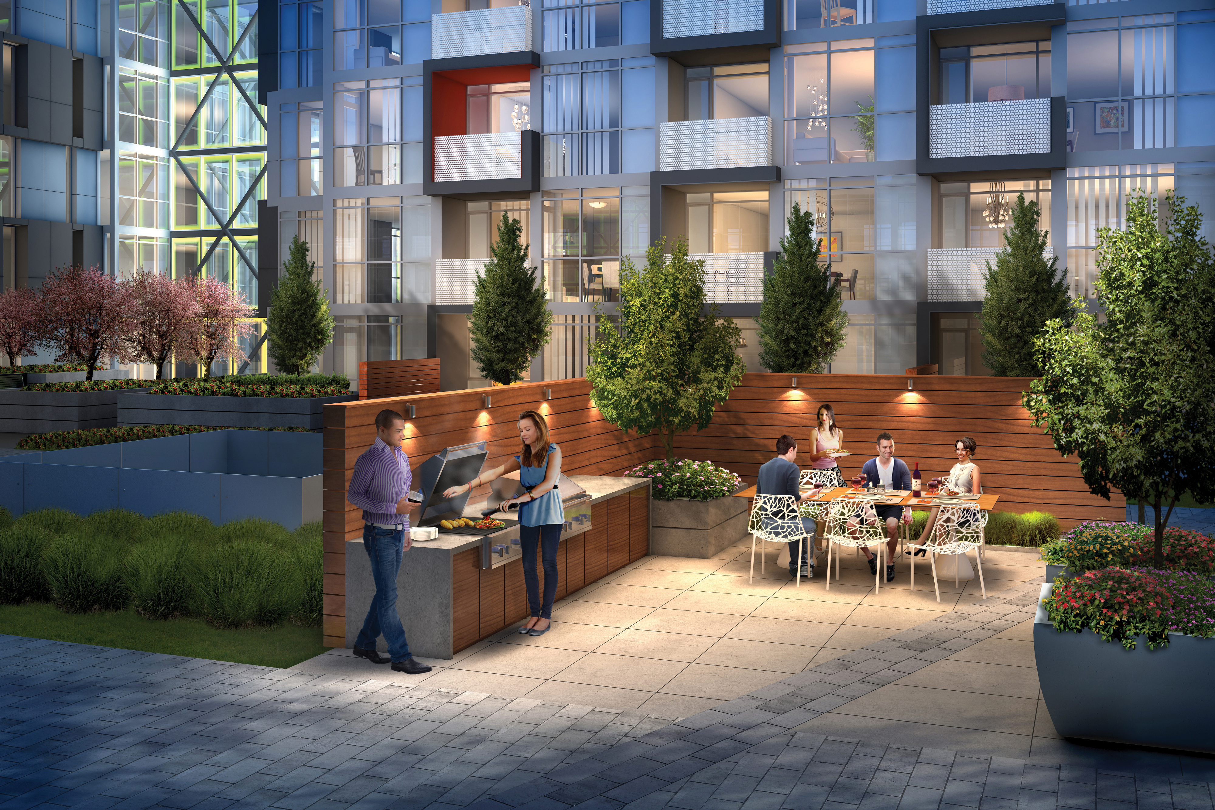 The private BBQ alcove at the east end of the Courtyard provided an intimate venue for dining al fresco on a warm summer evening