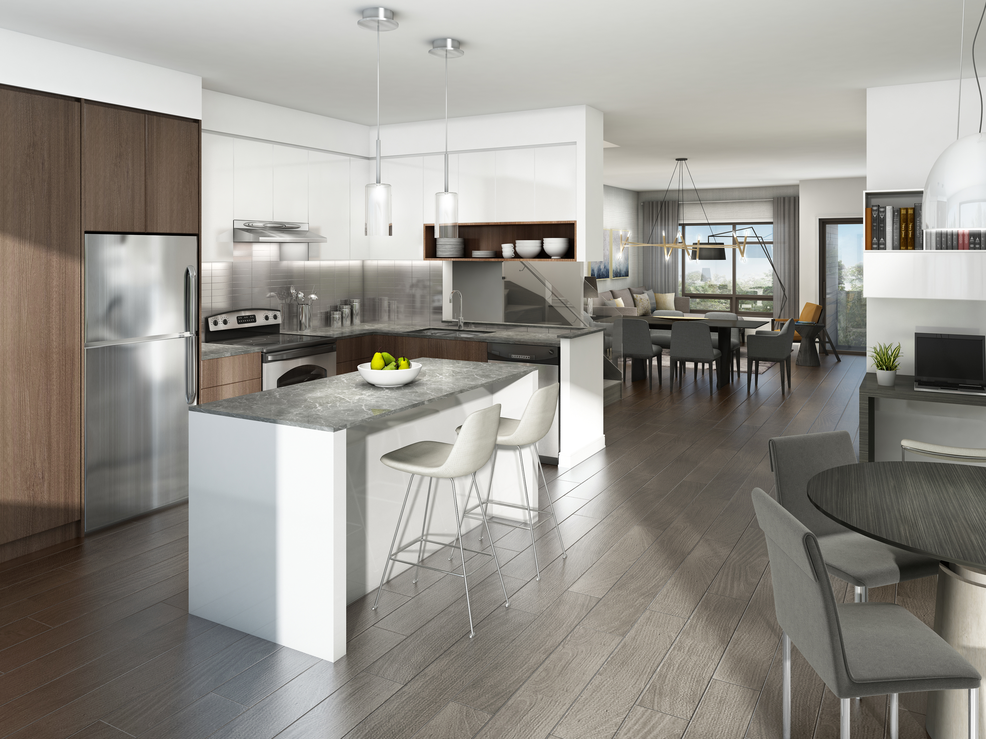 London Collection – Chef's kitchen features sleek stainless steel appliances, stunning backsplash and a quartz-topped breakfast bar