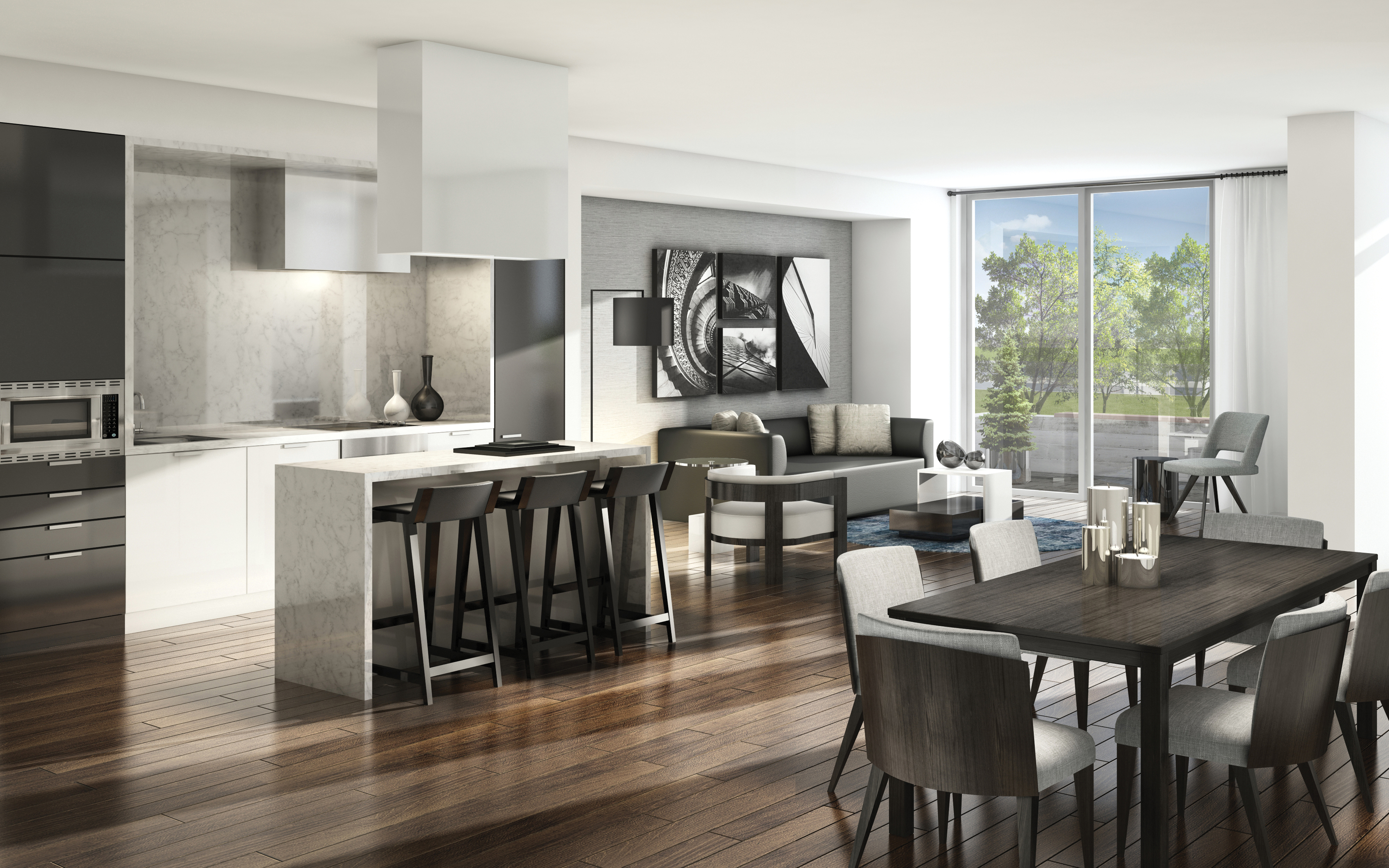 Townhome living and dining at LINK2 has no detail left unturned with Euro-Style kitchens, floor-to-ceiling windows and elegant laminate throughout