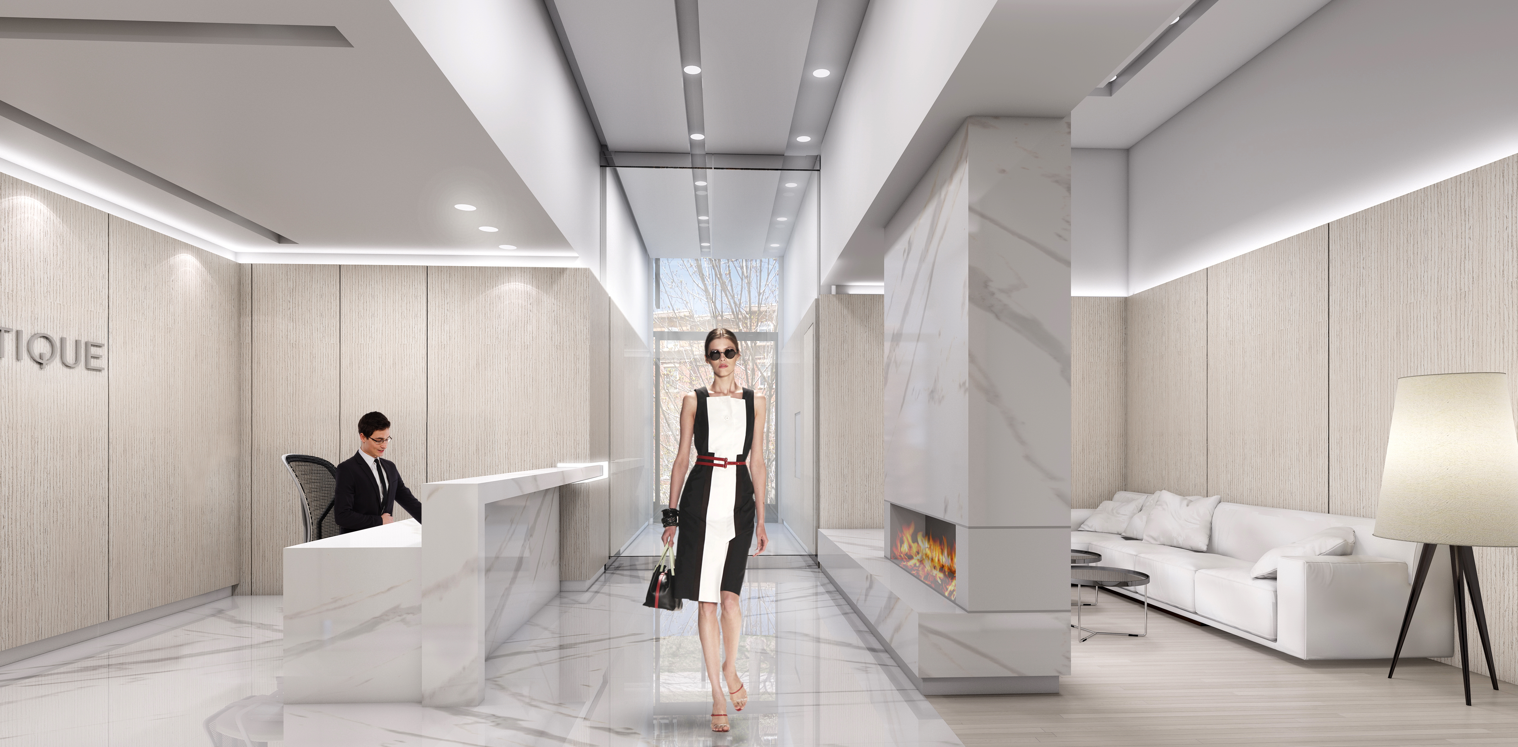 Go and arrive in style! The lobby evokes an aura of modern, worldly sophistication with its stylish Seating Lounge alcove and statement-making double sided fireplace.