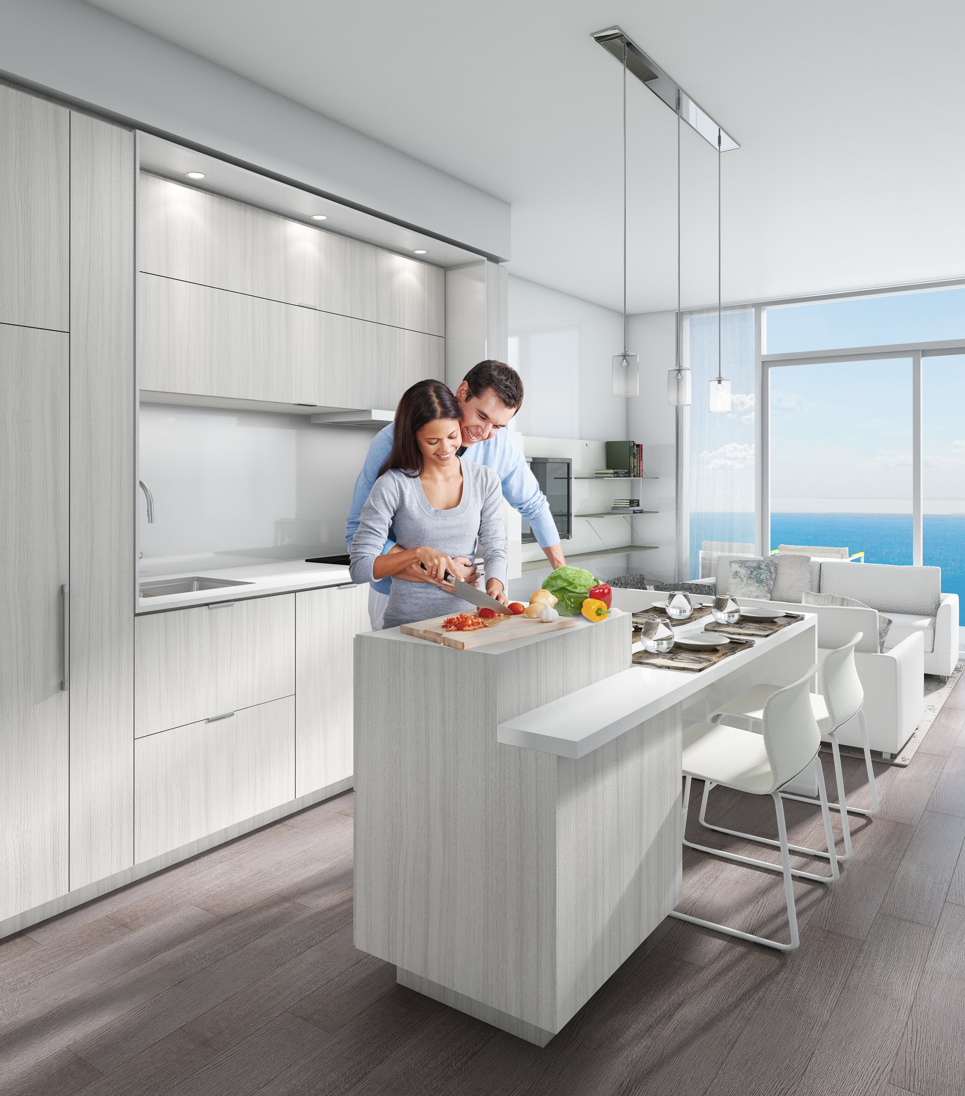 Gourmet kitchens showcase sleek modern cabinetry and premium Euro-style fully integrated panelized appliances