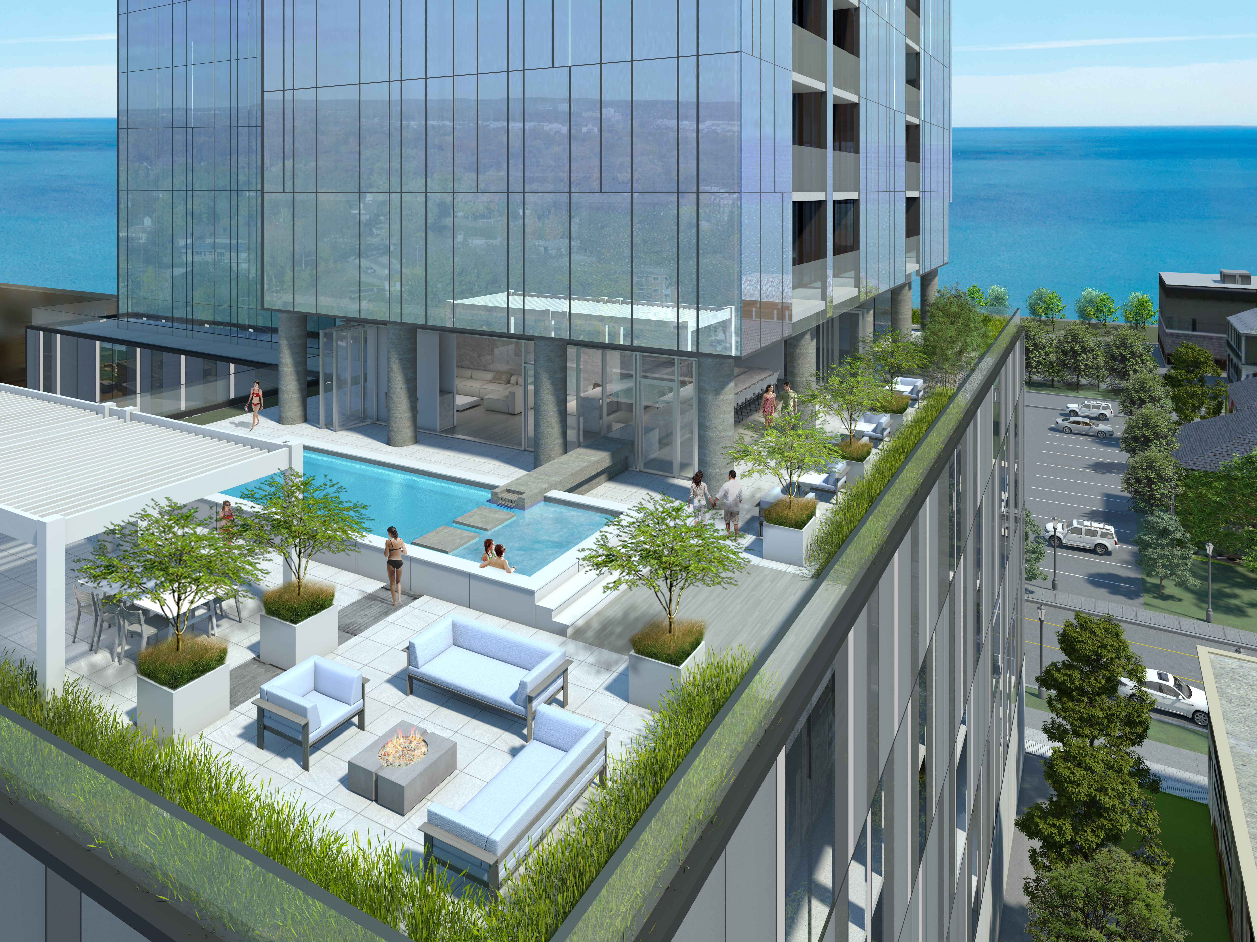 Soak in the everchanging blue vistas and refreshing breezes from a Lounge beside the statement-making pool atop the 4th floor terrace
