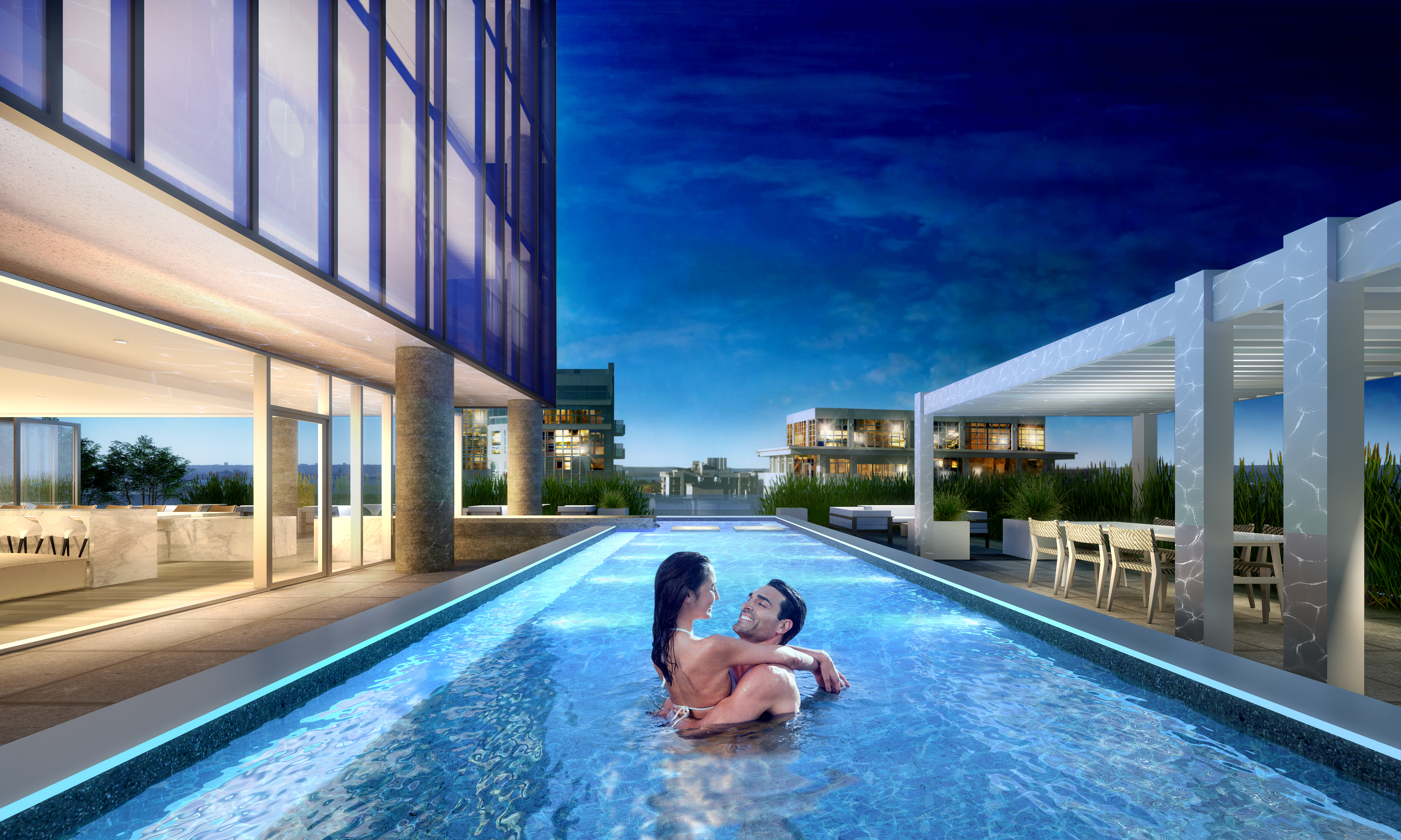 Escape from day-to-day living with the large swimming pool on the 20th floor