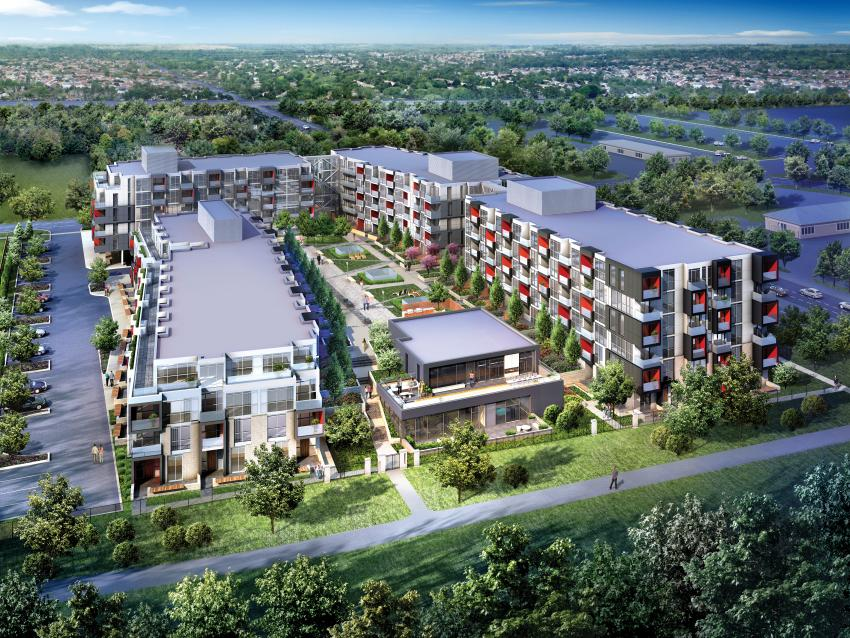 This contemporary four-building community is arranged in a U-Shape around a central courtyard sloping towards the spectacular Bronte Creek