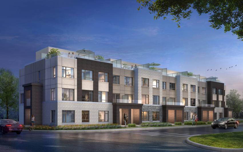 Milan Collection at Stationwest - Rear Lane Townhomes featuring 2 car garages and rooftop terraces