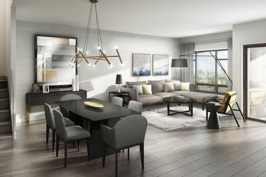 London Collection – Bright open-concept living allows gatherings to move effortlessly from cocktails to dinner and beyond.
