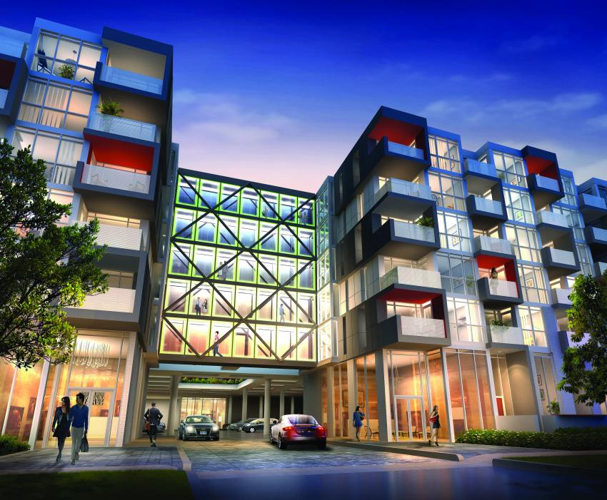 Elevated, multi-level glass walkways link the residences, setting the tone for modern urban lifestyle that awaits inside
