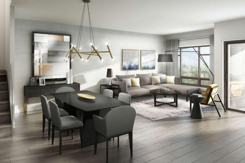 London Collection – Bright open-concept living allows gatherings to move effortlessly from cocktails to dinner and beyond