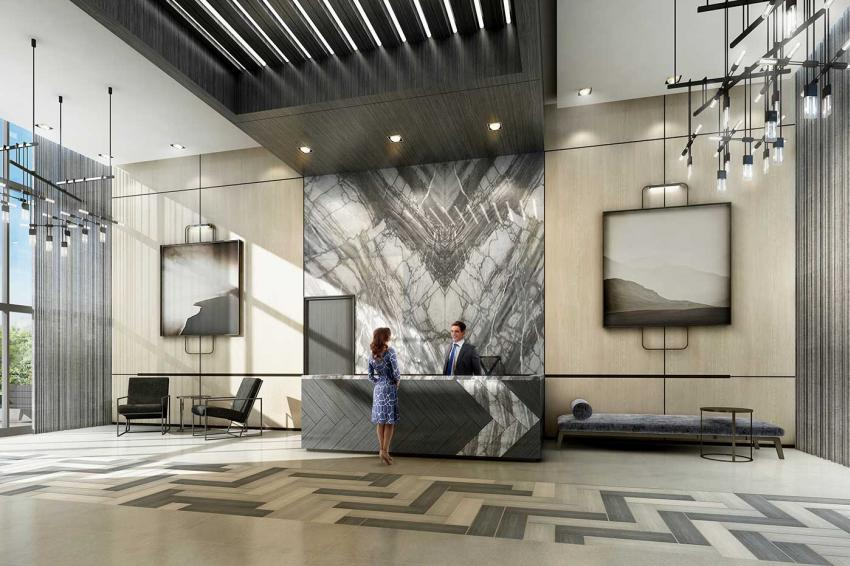 2-storey glass encased lobby with attentive concierge