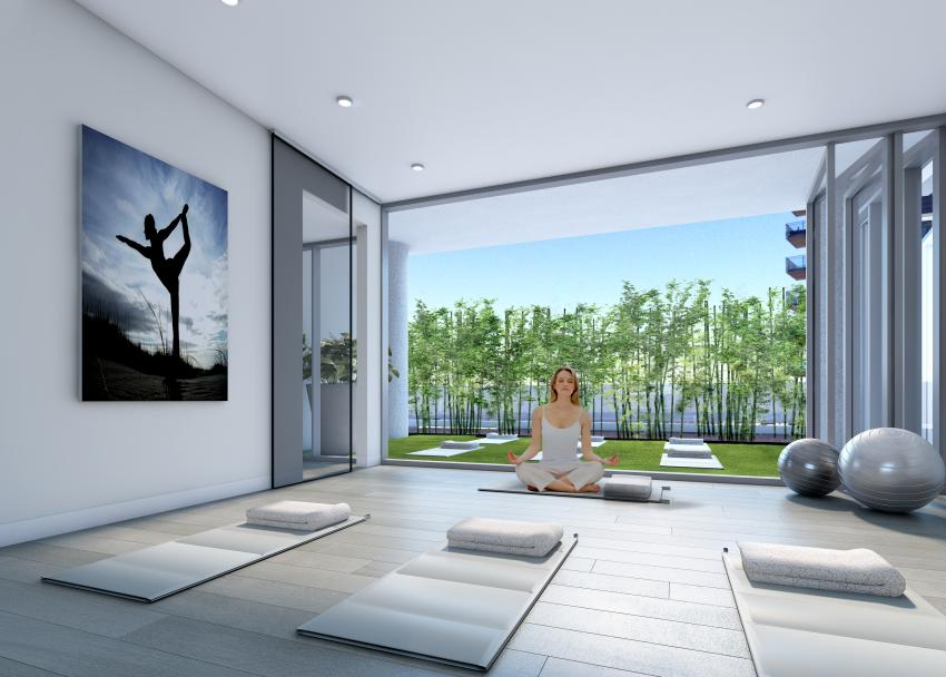 The Yoga Studio flows serenely from inside out, with innovative retractable glass wall panels.