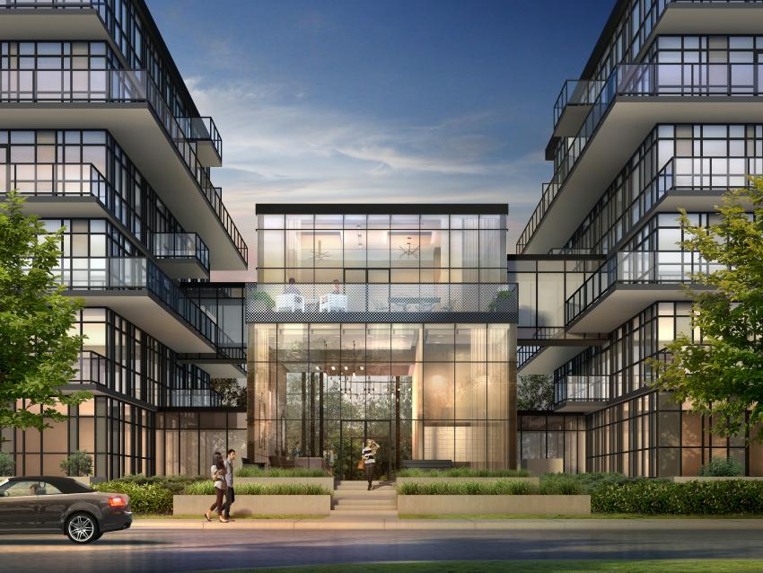 Stunning 2-storey glass-encased lobby joins the East and West buildings