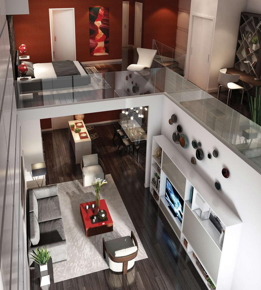 2-storey Lofts feature 19' ceilings with spacious open-concept master bedrooms above the main living space in authentic loft style