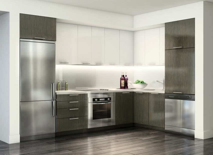 A typical kitchen includes premium stainless steel appliances