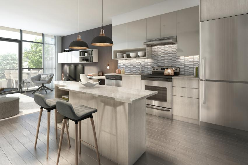 Linear designer kitchens featuring quartz countertops, stainless steel appliances and extended custom-designed cabinetry