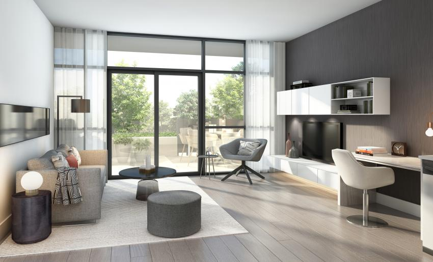 Bright and airy living rooms open to a spacious balcony or patio
