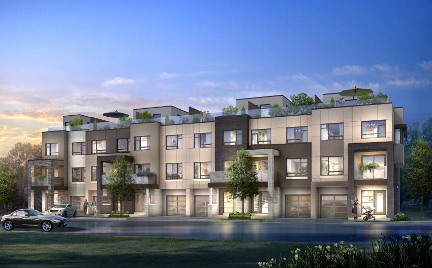 Chicago Collection at Stationwest – Back-to-Back Townhomes featuring rooftop terraces