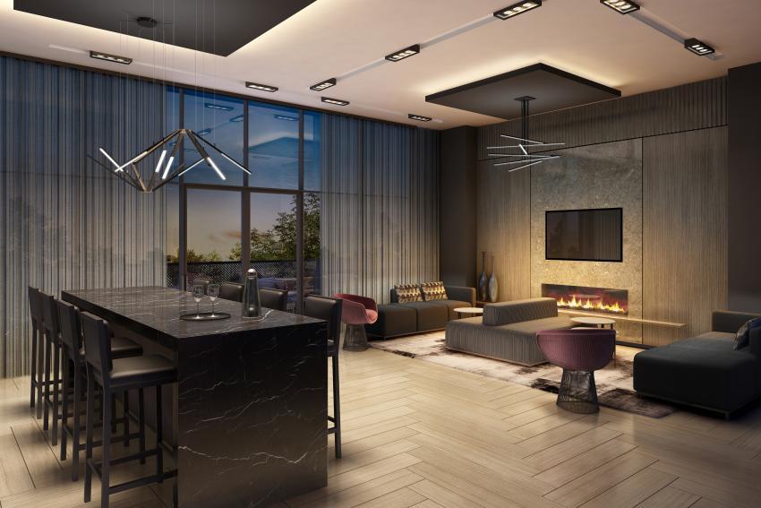 Party Room with private Catering Kitchen, High-top Seating and Wet Bar