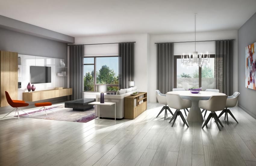 Chicago Collection – Upscale plank laminate flooring creates a seamless transition between light infused living and dining