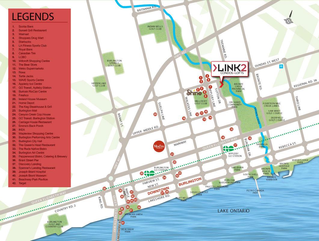 Link2 Condos + Lofts Neighbourhood Map