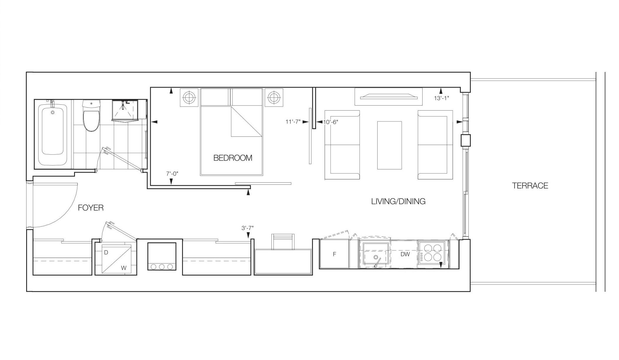 Luna 1 Bedroom Floorplans