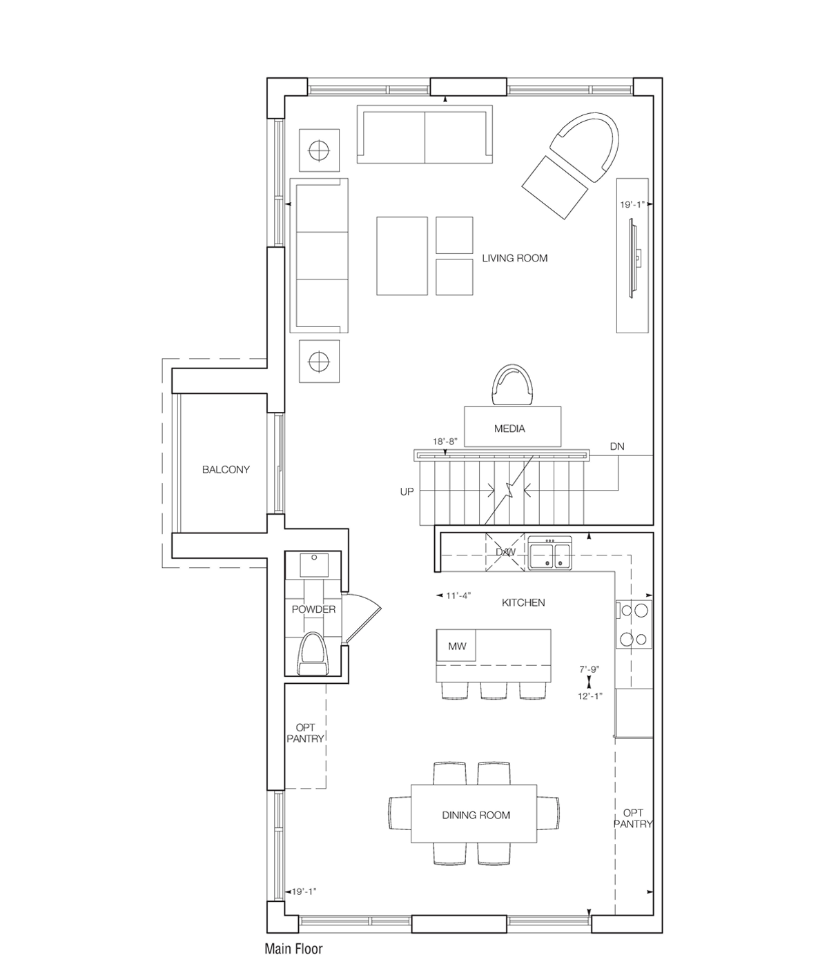 Saranno Floor Plan Living and Dining Rooms