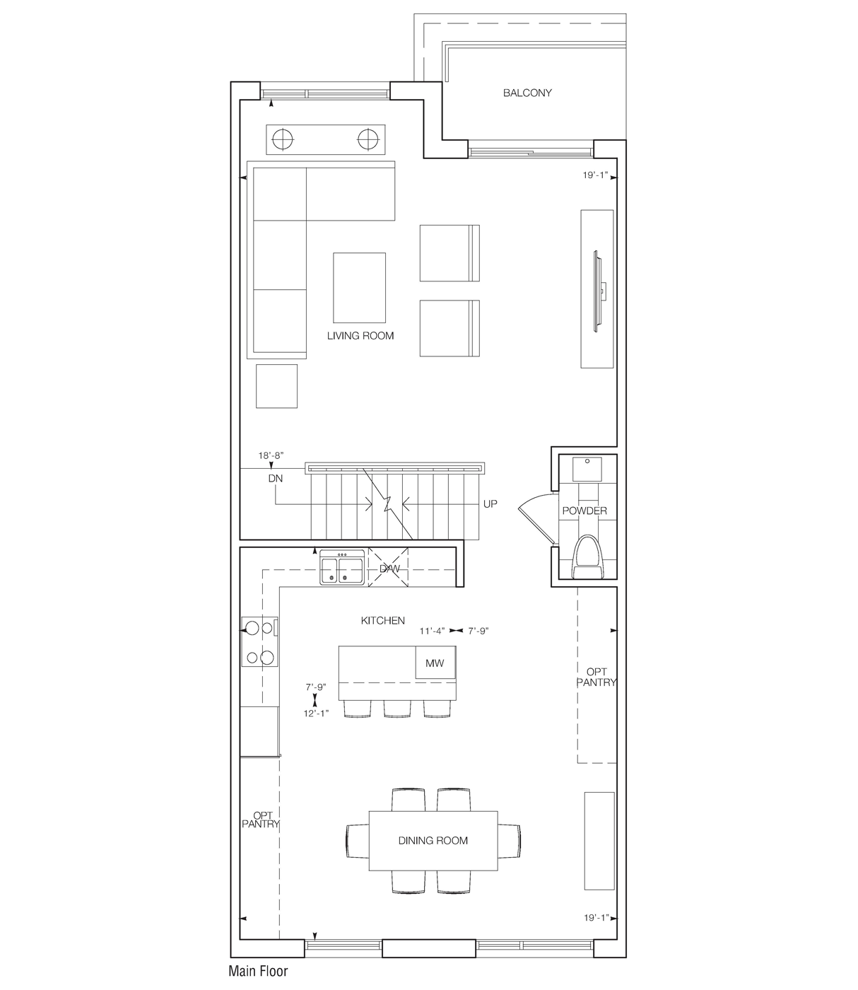 Living Room & Dining Room Flooplan